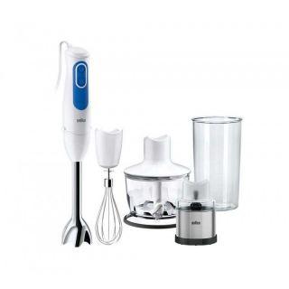 Braun MultiQuick 3 Hand Blender with Attachments, 700 Watt, White/Blue - MQ 3038 Spice+