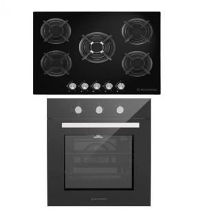 ECOMATIC BUILT-IN CRYSTAL HOB 70 CM 5 GAS BURNERS CAST IRON FULL SAFETY BLACK + ECOMATIC BUILT-IN GAS OVEN 60 CM WITH GAS GRILL & FANS STAINLESS 67 L