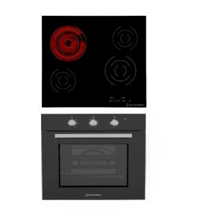 ECOMATIC BUILT-IN ELECTRIC HOB 4 BURNERS 60 CM TOUCH CONTROL BLACK CERAMIC + ECOMATIC BUILT-IN ELECTRIC OVEN 60 CM WITH GRILL & FANS STAINLESS 67 L