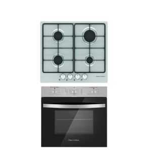 ECOMATIC BUILT-IN HOB 60 CM 4 GAS BURNERS ENAMEL FRONT CONTROL STAINLESS + ECOMATIC BUILT-IN ELECTRIC OVEN PROFESSIONAL 60CM
