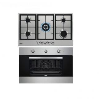 Zanussi Gas Built-In Hob, 5 Burners, Stainless Steel- ZGH96524XS + Zanussi Electric Built-In Gas Oven 90*60- Safty Oven +Gas Grill - Stainlessteel, ZOG9991X