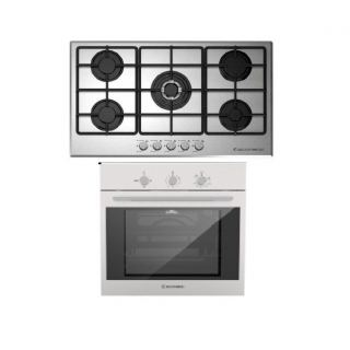 ECOMATIC BUILT-IN HOB 90 CM 5 GAS BURNERS FRONTAL CONTROL STAINLESS + ECOMATIC BUILT-IN STAINLESS STEEL GAS OVEN 60 CM WITH GAS GRILL & FANS