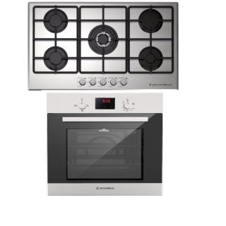 ECOMATIC BUILT-IN HOB 90 CM 5 GAS BURNERS FRONTAL CONTROL STAINLESS S9003M + Ecomatic 60 Cm Oven, Gas Grill, Stainless Digital, Distribution Fan - G6404TTD