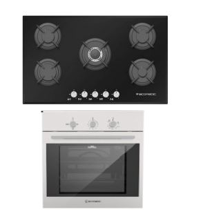 ECOMATIC BUILT-IN CRYSTAL HOB 90 CM 5 GAS BURNERS CAST IRON + ECOMATIC BUILT-IN STAINLESS STEEL GAS OVEN 60 CM WITH GAS GRILL & FANS