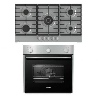Gorenje Built In Gas oven 60 cm BOG622E00FX+  Gas hob 90 cm 5 burners GW9C51X