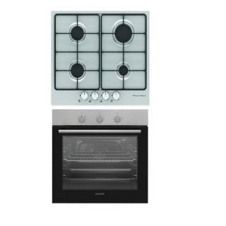 ECOMATIC BUILT-IN HOB 60 CM 4 GAS BURNERS ENAMEL FRONT CONTROL STAINLESS + DOMINOX BUILT-IN ELECTRIC OVEN 60 CM WITH FAN STAINLESS