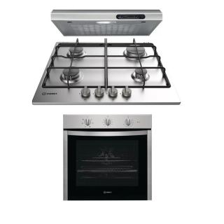 Indesit gas hob 60 cm stainless + Hood 60cm without chiminey + electric oven Stainless  60 cm with Grill