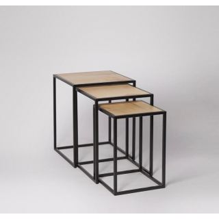 Three overlapping steel tables with electrostatic paint SU-002