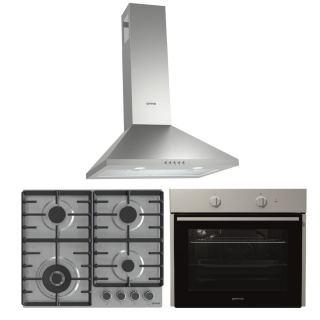 Gorenje Chimney hood 60 cm, stainless steel + Gas hob, 60 cm, stainless steel + Electric oven 60 cm, stainless steel