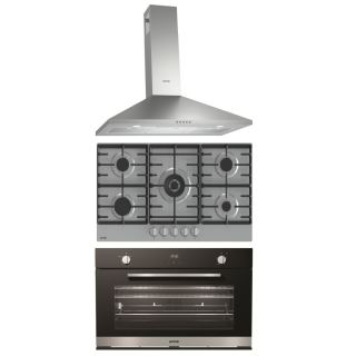 Gorenje chiminey hood 90 cm + Hob 90 Cm 5 Gas Burners, Stainless + Gas oven 90 cm with gas grill