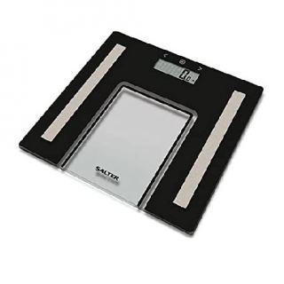 Salter Glass Analyser Bathroom Scales - Black 9128BK3R