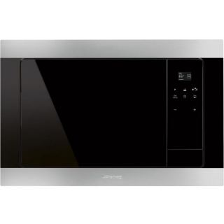 SMEG Built-In Electric Microwave Eclipse Glass with Grill 24 L Stainless Steel Black FMI320X Italy 100%